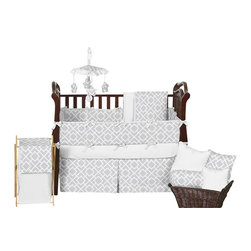 Sweet Jojo Designs - Diamond Gray & White 9-Piece Baby Crib Bedding Set by Sweet Jojo Designs - The  baby bedding by Sweet Jojo Designs includes: comforter, bumper, dust ruffle, fitted sheet, toy bag, pillow, diaper stacker and 2 window valances.