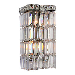 "Worldwide Lighting - Cascade 2 Light Chrome Finish Crystal Wall Sconce Light ADA 6"" W Small - This stunning 2-light wall sconce only uses the best quality material and workmanship ensuring a beautiful heirloom quality piece. Featuring a radiant chrome finish and finely cut premium grade crystals with a lead content of 30%, this elegant wall sconce will give any room sparkle and glamour. ADA Compliant (this wall sconce does not protrude no more than 4"" from wall). Worldwide Lighting Corporation is a privately owned manufacturer of high quality crystal chandeliers, pendants, surface mounts, sconces and custom decorative lighting products for the residential, hospitality and commercial building markets. Our high quality crystals meet all standards of perfection, possessing lead oxide of 30% that is above industry standards and can be seen in prestigious homes, hotels, restaurants, casinos, and churches across the country. Our mission is to enhance your lighting needs with exceptional quality fixtures at a reasonable price."