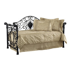 Hillsdale - Hillsdale Mercer Metal Daybed with Roll-Out Trundle - Hillsdale - Daybeds - 1039DBLHTR - The Hillsdale Mercer Daybed is constructed from metal in an antique brown finish. Gorgeous flower motifs upon wrought scrollwork crown this daybed offering a luxury feel. This twin size Victorian daybed features a kings wealth of detail such as cartouches bun feet sturdy aluminum castings and other classic embellishments. A mattress supporting suspension deck is included. Extend its versatility by using it as a sofa in the home office or combining it with the optional roll-out trundle in the guest room for even more sleeping space. The convenient and space saving optional roll-out trundle fits a standard twin size mattress and includes six casters for easy setup. With an Old World style and the elegance of a sleigh design the Mercer Daybed is the perfect focal point to a grandly styled bedroom.