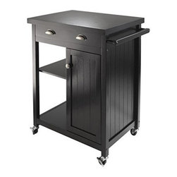 Winsome Wood - Timber Kitchen Cart - Our Timber Kitchen Cart with wainscot panel finished in Black compliments your kitchen. It features one large drawer while one side open storage with one adjustable shelf. The other bottom half has close cabinet with one adjustable shelf. It is made of combination solid and composite wood.