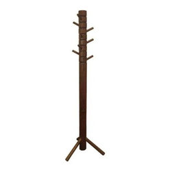 Proman Products - Farmhouse Coat Tree in Walnut Finish - 8 Swivel wood pegs for hanging. 3.5 in. Dia. pole, whole unit. Beautifully hand-crafted with natural wood feeling. All paints used are lead-free and non-toxic. Made of 100% solid wood. Minimal assembly required. 13.75 in. L x 13.75 in. W x 67.75 in. H