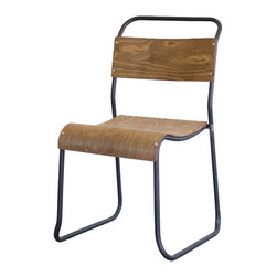 Scholar Side Chair - We love the simplicity of this high-backed side chair, which takes utilitarian schoolhouse design and elevates it to a stylish, grownup-friendly design piece. The molded plywood back and seat, and the weathered metal frame, look great against old-school scrubbed pine tables or an edgy, metal industrial spot.