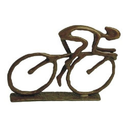 Danya B - 5 Inch Handcrafted Cast Bronze Man Riding Bicycle Collectible Statue - This gorgeous 5 Inch Handcrafted Cast Bronze Man Riding Bicycle Collectible Statue has the finest details and highest quality you will find anywhere! 5 Inch Handcrafted Cast Bronze Man Riding Bicycle Collectible Statue is truly remarkable.