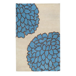 Surya - Artist Studio Ivory/Blue Floral Pattern Rug - Add colors of spring to cheer you up every day. The Artist Studio Rug will add air and novelty to your room. Features: