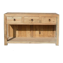 Golden Lotus - Rustic Raw Wood 3 Drawers Side Console Table - This table / buffet cabinet is made of thick solid wood with natural non stained color. There are 3 drawers with simple round handle. The bottom is an open storage area.
