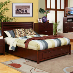 """Alpine Furniture - Camarillo Platform Bedroom Collection - Features: -Set includes platform bed. -Camarillo collection. -Material: solids and veneer. -Merlot finish. -Platform bed comes with complete set of slats. -Storage footboard. -Manufacturer provides 6 months warranty. Specifications: -Full dimensions: 47.25"""" H x 56.25"""" W x 79.25"""" D. -Queen dimensions: 47.25"""" H x 63"""" W x 84.25"""" D. -King dimensions: 47.25"""" H x 79"""" W x 84.25"""" D. -California king dimensions: 47.25"""" H x 75.5"""" W x 89.5"""" D."""