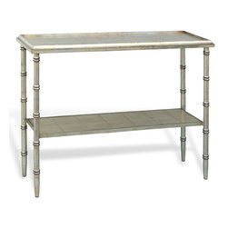 Kathy Kuo Home - Doheny Hollywood Regency Style Silver Bamboo Console - Hollywood Regency style has everyone starstruck. This faux bamboo console brings all the glitz and glamour of the silver screen wherever you place it, whether in an entryway, behind a sofa or in a master bath.