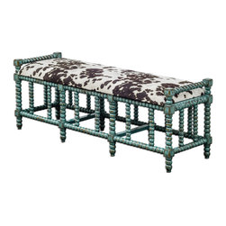 Uttermost - Chahna Cushioned Bench - Aqua Blue Finish On Solid, Plantation Grown Mango Wood With Cushioned Seat In Plush, Dark Chocolate And Milky White Velvet.