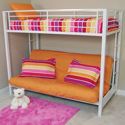 Walker Edison - Sunrise Twin/Futon Bunk Bed - White - Elegance and function combine to give this contemporary bunk bed a striking appearance. The design gives a stylish modern look crafted with durable steel framing. Designed with safety in mind, the bed includes full length guardrails and a sturdy integrated ladder. Great for any space-saving design needs. Futon easily converts into a full size sleeper to accommodate an overnight guest or a growing family.