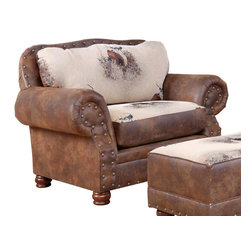 Chelsea Home Furniture - Chelsea Home Big Buck Chair in Trophy Buck and Pinto Tobacco Microfiber - Big Buck chair in Trophy Buck and Pinto Tobacco Microfiber belongs to Verona II collection by Chelsea Home Furniture