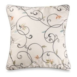 Laura Ashley - Laura Ashley Berkley 16-Inch Square Toss Pillow - Exquisite embroidery makes this lavish pillow the perfect accent for the Berkley bedding collection or anywhere else you choose to place it. 100% cotton, exclusive of decoration.