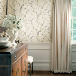 Meadowlark - The signature print from the Meadowlark collection, this beautiful bird theme wallpaper brings a touch of whimsy to this traditional dining room.