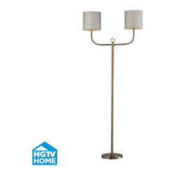 HGTV HOME - HGTV HOME HGTV257BR Hgtv Home 2 Light Floor Lamps in Antique Brass - Double Armed Floor Lamp in Antique Brass Finish
