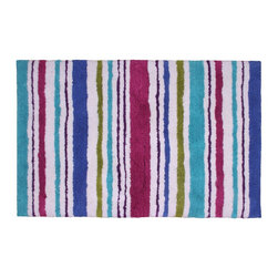 Jovi Home - Carousel Stripe 24 x 36-inch Cotton Bathmat - This bath rug comes contemporary stripes design that is packed with colors. Made of 100-percent cotton, the absorbent rug is soft with a rich pile.