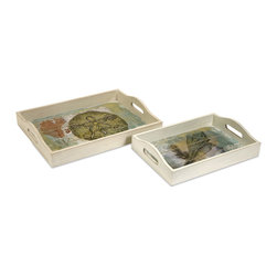 iMax - Burton Coastal Trays, Set of 2 - This set of two whitewashed trays feature coastal images and collage designs adding a splash of color to any nautical decor.