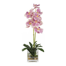Nearly Natural - Vanda with Glass Vase Silk Flower Arrangement - Treasure the beauty of these rare exotic Vanda orchids. Two slender stems filled with brightly speckled blossoms make this duo a treat to behold. Nestled in a bed of rich green leaves, these lovely flowers will provide you with years of care free pleasure. A square glass vase coupled with artificial water and river rock adds a handsome touch to this breathtaking arrangement.