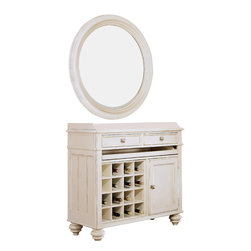 American Drew - American Drew Camden-Light Server with Round Mirror Mirror in White Painted - Server w/ Round Mirror Mirror in White Painted belongs to Camden-Light Collection by American Drew The Camden-Light Collection melds simple forms with quiet traditional references, gentle curves and a beautiful time worn ivory finish that lets the character of the wood show through. The brushed nickel finish hardware adds even more character to the Camden collection. This line will work great in your renovated farm house or a smaller beach cottage get-away. Server (1), Mirror (1), Mirror Support-Pair (1)