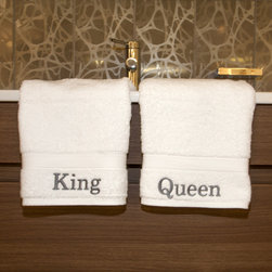 "None - Authentic Hotel and Spa Personalized King and Queen Turkish Cotton Hand Towel (S - Garnish your bathroom with these royally-styled Turkish-cotton hand towels. One towel is branded with ""King"" and the other states ""Queen."" Both high-quality towels will become softer and more absorbent over time and won't shed or flake."