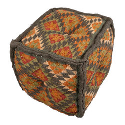 "Jaipur Rugs - Gray/Orange Handmade 60% Wool 40% Jute Pouf (16""x16""x16"") - The Bedouin pouf collection offers a range of casual square poufs that have been handwoven from wool and jute. The designs are inspired by authentic kilim patterns and have a vintage feel. The pouf collection can easily be mixed and matched with its coordinating pillow and rugs."