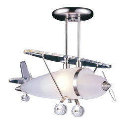 "Elk - Kids Prop Plane Pendant Chandelier - A pendant kids chandelier for the young at heart this bright design adds a fun accent to bedrooms and play areas. Old fashioned prop plane features satin chrome ceiling mount wing and details. Plane body is in frosted glass. Takes one 60 watt bulb (not included). 19"" wide. 16"" high. Comes with 16"" extension rods.  Satin chrome finish.  Frosted glass.  Takes one 60 watt bulb (not included).   19"" wide.  16"" high.  Comes with 16"" extension rods."