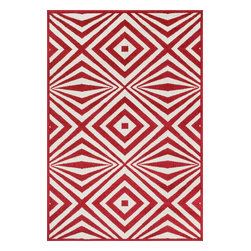 """Loloi Rugs - Loloi Rugs Catalina Collection - Red / Ivory, 9'-2"""" x 12'-1"""" - Made of very weather-resilient polypropylene, the Catalina Collection features indoor/outdoor rugs with bold patterns and can't-miss, vibrant colors that look amazing in indoor or outdoor spaces. Each design is power loomed in Egypt and tested withstand UV rays and sunshine."""