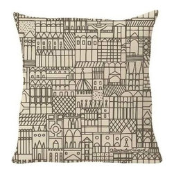 Vitra - Suita Retrospective Repeat Pillow by Vitra - A pillow worthy of a double take. The Vitra Suita Retrospective Repeat Pillow is a large square throw pillow adorned with a highly detailed graphic by Alexander Girard. The crowded and cartoonish cityscape adds an element of urban whimsy to a sofa or bed, while the smooth Olimpo fabric brings extra coziness. Founded in Switzerland in 1950, Vitra produces intelligent and inspiring furniture and accessories for the home, office and other public spaces. Ever mindful of the importance of sustainability in design, Vitra creates furnishings with high quality and versatile style that ensures functional and aesthetic enjoyment for the long term.
