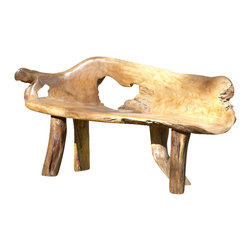 Teak Root Bench, Large - Hand crafted teak root bench is equally suited indoors or in the garden.