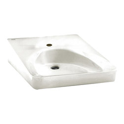 American Standard - American Standard 9140.047.020 Wheelchair Accessable Wall-Mount Sink, White - This American Standard 9140.047.020 Wheelchair Accessable Lavatory Wall-Mount Sink is part of the Additional Accessories collection, and comes in a beautiful White finish. This wall-mounted wheelchair-accessable sink features a front overflow, and concealed arm carriers (sold separately). It is designed with a single faucet mounting hole.