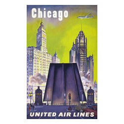 Chicago - United Airlines Print - Poster promoting United Airlines to Chicago. Published in the 1950's as a color offset lithograph at 101.6 x 63.6 cm.