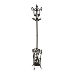 iMax - iMax Metal Coat Rack with Umbrella Stand X-18221 - With British sensibility, this metal coat rack and umbrella stand is tasteful and functional.