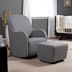 Dutailier Upholstered Collection Glider and Ottoman Combo - Relaxing enough for the nursery and stylish enough for the living room, the Dutailier Upholstered Collection Glider and Ottoman Combo features nice curves and a versatile grey upholstery. This glider is made of high-quality foam cushions and features stylish espresso legs. It's constructed with solid wood mortise and tenon assembly for lasting quality. The unparalleled gliding motion is activated by a hidden lock release handle which makes it easier to sit in or step out of the glider. Feel the optimal comfort with the matching ottoman for the perfect relaxation.About DutailierDutailier is a privately owned Canadian company established nearly 30 years ago. The company began as a manufacturer of wood components and furniture, including a limited number of glider rocker models. In 1988, Dutailier began focusing all research and resources into becoming the premier producer of glider rockers. It succeeded by bringing the finest technology, superior quality and durability, and patented mechanisms to its furniture. With this expertise, Dutailier has manufactured more than 4 million chairs in North America and Europe. The company has now expanded its market reach with the acquisition of E.G. Furniture, makers of high-end wood bedroom furniture for babies, children, and teens. Dutailier is committed to excellence and meeting its customers' needs and expectations.