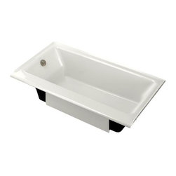 KOHLER - KOHLER K-877-S-0 Highbridge Cast Iron Bath with Enameled Apron & Left-Hand Drain - KOHLER K-877-S-0 Highbridge Cast Iron Bath with Enameled Apron and Left-Hand Drain in White