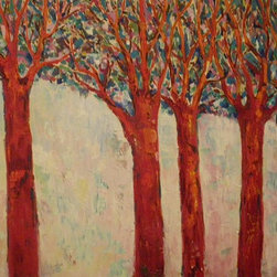 Audrey Mabee, 'Red Trees' - 1988, signed original oil on canvas. Please allow additional lead time as this artwork is shipped from Canada (to Seattle), before being shipped to buyer.