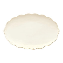 Scallop Oval Platter - White - Low-key beading texture within the outer curves of the Scallop Oval Platter adds dimension to the smooth curve of this decor active dish. Perfect for confining a few carefully-curated natural souvenirs as well as for presenting casual appetizers at a holiday party, this versatile tray reliably serves your dining, entertaining, and decorating needs with a neutral accent.