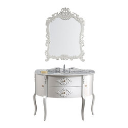 Virtu USA - 48in. Single Sink Bathroom Vanity in White with Italian Carrara White Marble - An eye catching Victorian-esque design featuring soft curves, dainty legs and ornate accents. This Abigail vanity will be a beautiful addition to a vintage loft or old-world country style home. The vanity is constructed from solid oak wood and finished in white. The doors and drawers are equipped with soft closing mechanisms. Italian Carrara white marble countertop with a matching backsplash is included with the set. A hand carved mirror further enhances the design. The Abigail is a perfect choice for any bathroom design.