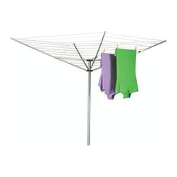 Household Essentials - Aluminum Umbrella Dryer-Large, Aluminum - Enjoy the freshness of drying your clothes in sunshine and breezes, take in the day, and save a little in your pocketbook with the help of the Umbrella Dryer. The angled lines increase airflow, improving circulation throughout your hanging garments. So take a step back in time and hang your laundry like Grandma reap the benefits in spirit and lower utility bills.