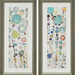 Paragon Decor - Ocean Garden Set of 2 Artwork - A sea of aqua and shades of blue combine for a spectacular rendition of an underwater garden.  Matted in white and framed in silver molding.