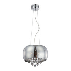 "Lite Source - Lite Source EL-10064 Othello Modern / Contemporary Pendant Light - Sleek modern styling created with a smoke mirrored convex glass shade, complimented with stacked full facet cut crystals to create that ""Modern"" drama for any room."
