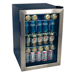 EdgeStar - EdgeStar 84-can Stainless Steel Beverage Refrigerator - Add a modern flair to your kitchen with this compact EdgeStar refrigerator. Its reversible,steel-trimmed glass door,manual temperature controls,multiple shelves and 84-can capacity make this refrigerator both stylish and functional.