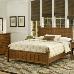 Home Styles - Arts and Crafts Queen Poster Bed - Cottage Oak Multicolor - HMS1431 - Shop for Beds from Hayneedle.com! Raised wood lattice moldings and strong lines make the Arts and Crafts Poster Bed - Cottage Oak a mission style beauty. This bed is beautifully-crafted of Asian hardwood solids and hardwood veneers in a friendly cottage oak finish. Transform your whole bedroom into an Arts and Crafts masterpiece by adding the optional matching headboard nightstand and chest. The headboard has the same detailed lattice moldings and squared posts that will make it the centerpiece of your room's design. The nightstand is a handy bedside companion with a drawer open storage and generous top. The chest offers four generous drawers for traditional clothing storage and more. Furniture Dimensions:Optional Queen Headboard: 64.25W x 4D x 48.5H in.Optional Nightstand: 18W x 16D x 24H in.Optional Chest: 36W x 16D x 36H in.About Home StylesHome Styles is a manufacturer and distributor of RTA (ready to assemble) furniture perfectly suited to today's lifestyles. Blending attractive design with modern functionality their furniture collections span many styles from timeless traditional to cutting-edge contemporary. The great difference between Home Styles and many other RTA furniture manufacturers is that Home Styles pieces feature hardwood construction and quality hardware that stand up to years of use. When shopping for convenient durable items for the home look to Home Styles. You'll appreciate the value.