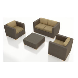 Harmonia Living - Element 4 Piece Modern Wicker Sofa Set, Heather Beige Cushions - The Harmonia Living Element 4 Piece Wicker Patio Sofa Set with Tan Sunbrella cushions (SKU HL-ELE-4SS-HB) is sure to turn your patio into a stylish center of modern outdoor entertainment. Each set piece is constructed with thick-gauged aluminum frames so they will last for years without corroding. Seat and back cushions are covered in mildew- and fade-resistant fabric by Sunbrella, which include ties to keep them in place. Each piece is covere with Textilene sling fabric, a material that creates a modern look while offering your outdoor furniture fade resistant and a quick-drying feature. Brushed aluminum feet outfitted with plastic glides allow you to endlessly rearrange the set without damaging your patio surface.