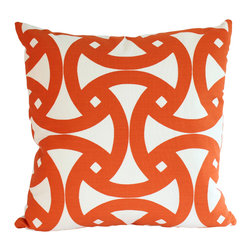 The Pillow Studio - Trina Turk Santorini Indoor Outdoor Pillow, Orange, 18x18 - I love the geometric design on this pillow and the tangerine orange, Santorini marine blue, and grey colors makes me smile every time I see it.