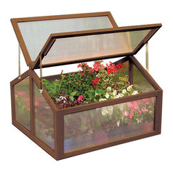 None - Large Wooden Cold Greenhouse Frame - This large wooden greenhouse made of FSC timber wood will protect your plants from cold weather conditions to ensure maximum growth. A hinged door with latch bolt for fastening and locking is ideal for ventilation and early sowing.