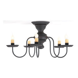 Irvin's Tinware - Thorndale Ceiling Light in Hartford colors, Black Over Red - This light fits well into any decor. The five arms allow for plenty of light with 60 watts max per arm. The center is spun from poplar hardwood and then hand painted. It will provide plenty of light in entrances, hallways and bedrooms throughout your home.