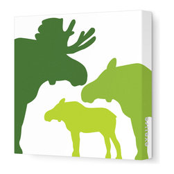 """Avalisa - Animal - Moose Stretched Wall Art, 28"""" x 28"""", Green Hue - Put these moose to good use in your child's favorite space. The powerful creatures are symbols of self-esteem and courage — plus, they look pretty mighty and mighty pretty in silhouette as sleek, unframed stretched canvas wall art."""