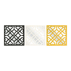 iMax - Prinstly Wall Mirrors, Set of 3 - Graphic, bold pattern overlaps the set of three Prinstly wall mirrors in black, canary and white. Buy multiple sets to make a dramatic statement.