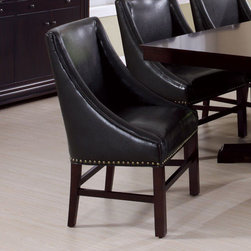 "Monarch - Dark Brown Bonded Leather 38""H Side Chair - Set of 2 - These rich dark brown side chairs are upholstered in a bonded leather featuring an antique brass nail head trim along the base. The unique wing arm styling of the chairs with luxurious padding perfectly compliment the classic sophistication of the dining table.;Features: Color: Brown;Weight: 68 lbs.;Dimensions: 26""L x 22""W x 38""H"