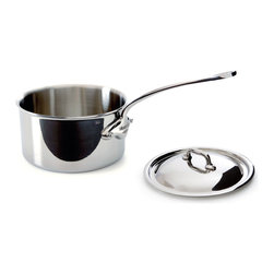 Mauviel M'cook 1.9 qt Stainless Steel Saucepan & Lid - The Mauviel M'cook 1.9 Qt. Saucepan With Lid offers professionals and household cooks the highest culinary technology.  Five layers of materials provide perfect conductivity for each product  thanks to fast and uniform heat distribution. The handles are made from cast stainless steel  and reinforce the pure and modern design of this range.  Each piece of Mauviel cookware is handcrafted in France.   Product Features      5 ply Construction - High performance cookware  works on all cooking surfaces  including induction   2.6 mm Thickness on all shapes - even heat distribution (fast  uniform  controlled cooking)   Pouring rims on all shapes - eliminates drips when pouring liquids   Handles fixed by sturdy stainless steel rivets   Oversized  cast stainless steel handles - for safe lifting of stew pans  roasters and other large pots.   Professional diameters and heights - M'Cook products have high sides and are designed for both professional and household cooking   Oven safe to 680 Degrees F   Dishwasher safe.   Each piece handcrafted in France by Mauviel - manufacturing cookware since 1830   Lifetime guarantee. (Warranty not valid for commercial use)