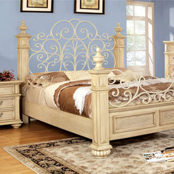 Furniture of America - Furniture of America Lucielle 3-piece Antique White Bed Set - Sophisticated and grand in every way,this three piece bed set features a prominent and regal four poster bed with an expansive arching headboard that showcases an open floral design to match the metal curving footboard.