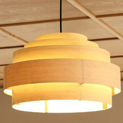 Modern Multi-Rings Bamboo Veneer Pendant Lighting -